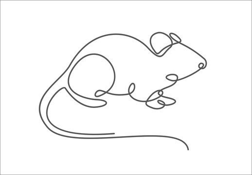 Rat year 2020.One single line drawing. 2020 year sign. Rat continuous line