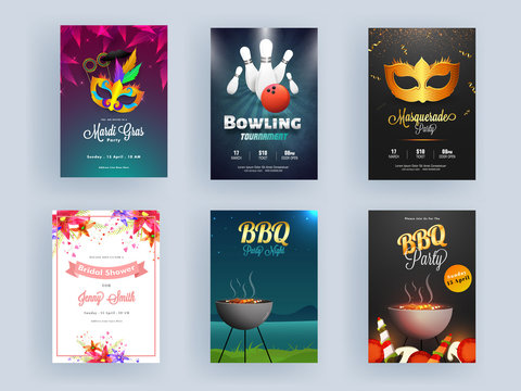 Different Flyer Design as BBQ Night, Mardi Gras, Masquerade Party, Bowling Tournament and Bridal Shower Invitation.