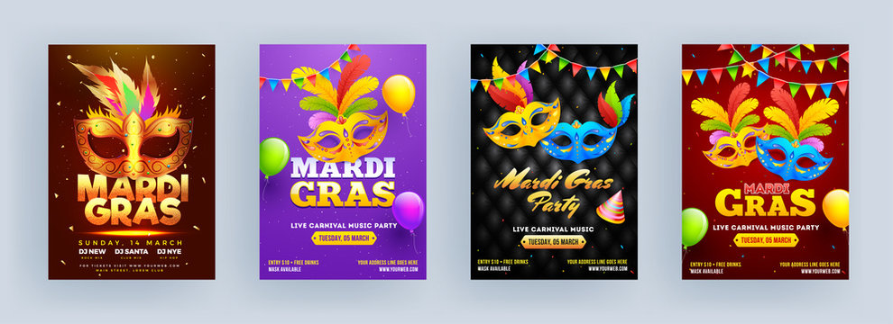 Different Color Mardi Gras Party Flyer Design with Carnival Mask, Party Hat and Balloons.