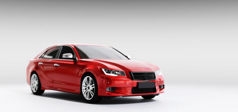New car, sedan type in modern style. 3D illustration