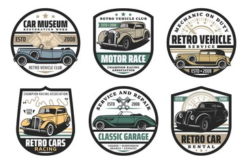 Car restoration and motor race, retro vehicles museum isolated icons. Vector vintage vehicle exhibition, motocross championship racing. Garage service, rental and repair, mechanic on duty