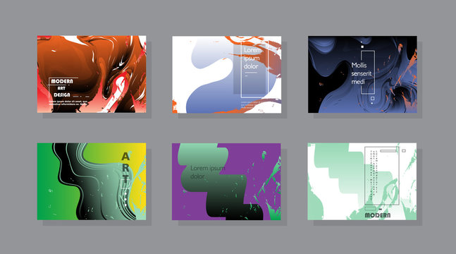 Set of horizontal a4 covers, brochure, flyer template design with abstract background