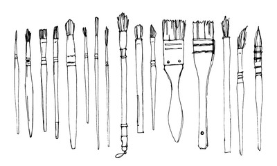 Vector sketch of different types of brushes for watercolor. Artistic brushes for creativity.