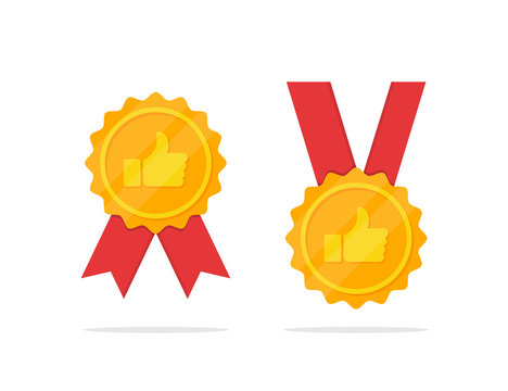 Set of golden medal with thumb up icon in a flat design
