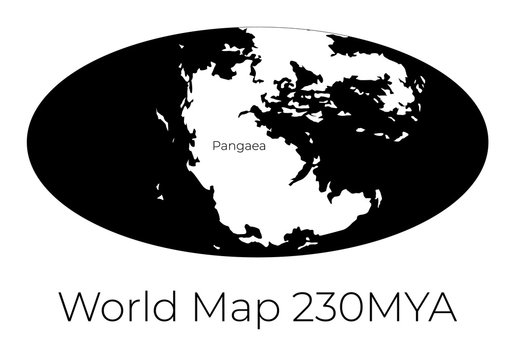 Map of the World 230MYA. Monochrome vector illustration of Worldmap with white continents and black oceans isolated on white background. Prehistoric projection. Silhouette. Element for your design.