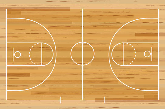 Basketball court floor with line on wood texture background. Vector illustration.