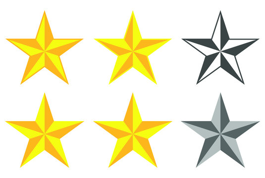 Flat style cold Star shape silhouette icon button set.  Feedback, ranking quality sign symbol. Vector illustration icon. Isolated on White background. Western,nautical stars logo.