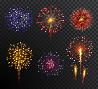 Firework. Set multy-colored new year bright firework explode isolated on transparent background. Holidey, victory, celebration symbol.