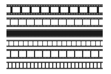 Blank cinema film strips collection. Film frame. Old retro cinema strip. Vector photo frame. Seamless film strip