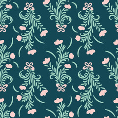 A seamless vector pattern with ornamental flower bouquets on a dark teal background. Feminine surface print design. Great for cards, invitationsand fabrics.