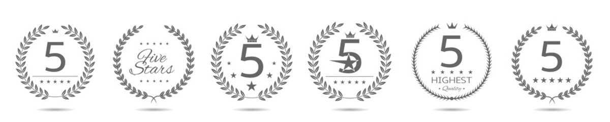 Five star badge set Fotomurales