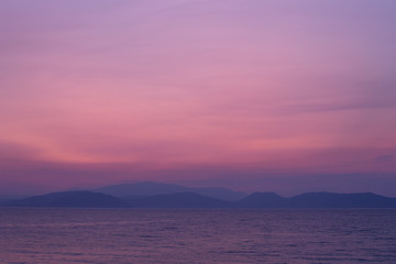 Aluminium Prints Candy pink Seascape in delicate pastel colors. Pink dawn over the sea