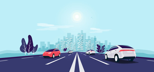 Papiers peints Cartoon voitures Traffic on the highway panoramic perspective horizon vanishing point view. Flat vector cartoon style illustration urban landscape motorway with cars, skyline city buildings and road going to the city.