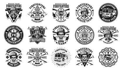 Firefighters big set of vector isolated emblems
