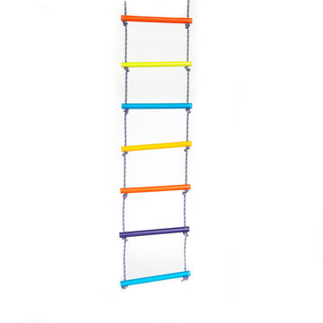 Wooden colorful rope-ladder on the white backdrop