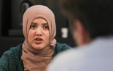 Yasmin Ullah, activist for human rights, speaks during an interview at the Novotel World Forum in The Hague, Netherlands