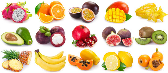 Fototapete - Collection of fresh fruits on white background