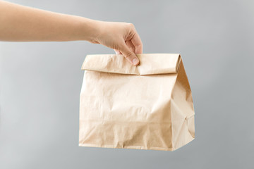 recycling and ecology concept - hand holding disposable brown takeaway food in paper bag with lunch...
