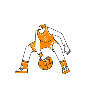 Vector hand drawn colored sketch illustration of professional basketball player, playing with basketball ball in dynamic pose, isolated on white. Hand draw vector illustration of professional basket