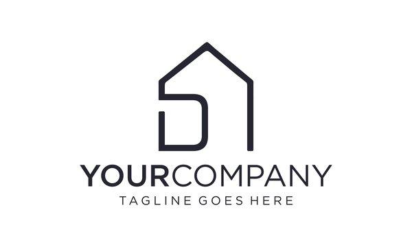 Smart home with D letter logo design concept