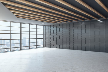 Black empty office interior