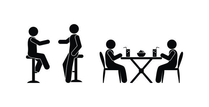 restaurant icon, stick figure pictogram man drinks and communicates, people sit at a table with drinks