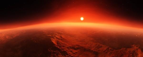 Foto auf AluDibond Braun Panorama of Mars at sunset, sunrise above the surface of Mars, Martian landscape, 3d rendering