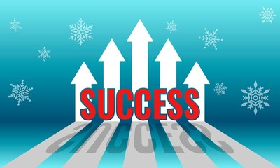 Incremental arrow growth graph for financial and business success concept with a winter background..