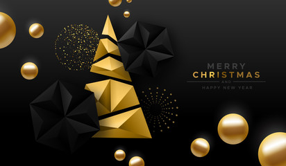 Wall Mural - Merry Christmas gold low poly abstract pine tree
