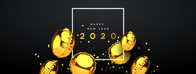 New Year 2020 gold 3d party balloon banner