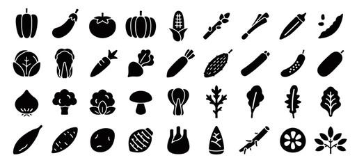 Fototapeta Vegetable Icon Set (Flat Silhouette Version) obraz