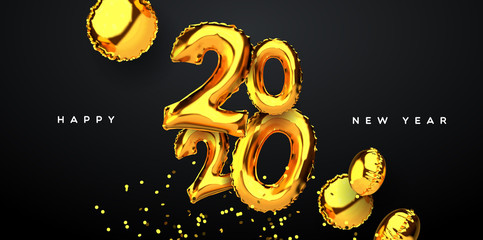 Wall Mural - New Year 2020 gold 3d party balloon card