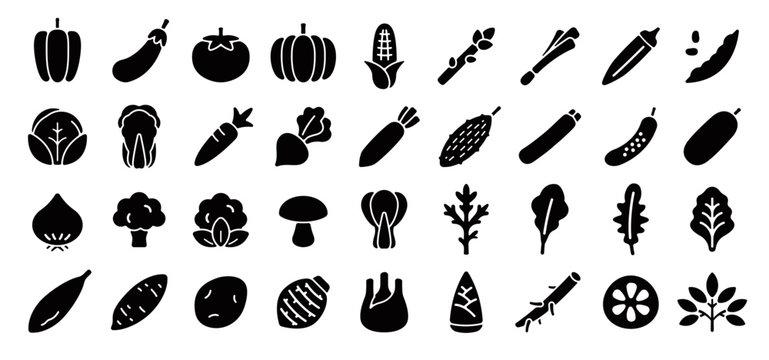 Vegetable Icon Set (Flat Silhouette Version)
