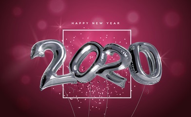 Wall Mural - New Year 2020 silver 3d foil party balloon card