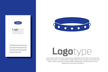 Blue Leather fetish collar with metal spikes on surface icon isolated on white background. Fetish accessory. Sex toy for men and woman. Logo design template element. Vector Illustration Fotobehang
