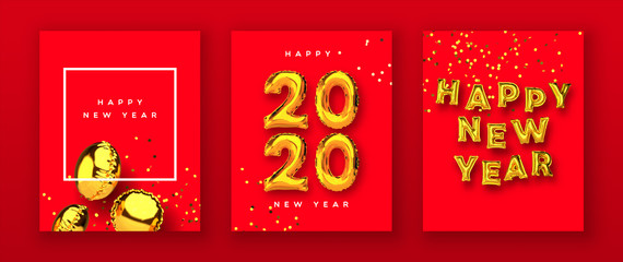 Wall Mural - Happy new year 2020 gold 3d balloon card set