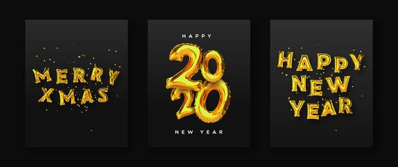 Wall Mural - Christmas new year 3d gold foil balloon card set