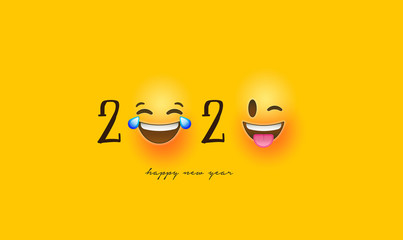 Wall Mural - Happy new year 2020 funny emoticon face card
