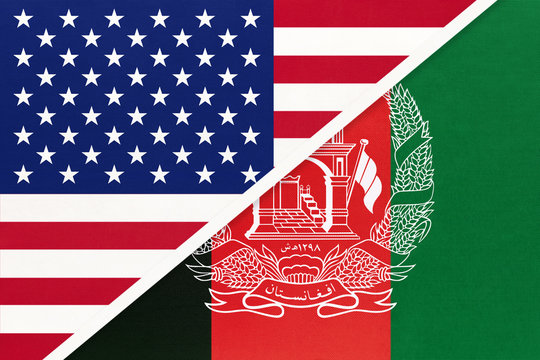 USA vs Afghanistan national flag from textile. Relationship between two american and asian countries.
