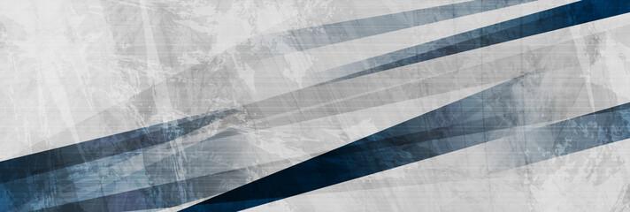 Fotobehang - Dark blue grunge stripes abstract banner design. Geometric tech background. Vector illustration