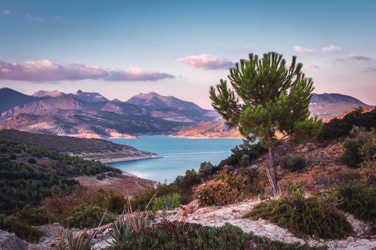 Lake Iznajar in Andalucia, Southern Spain
