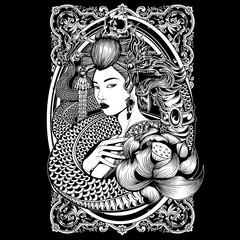 .art, beauty, black, character, clip art, culture, design, female, geisha, girl, graphic, head, illustration, isolated, japan, japanese, katana, logo, lotus, martial, naga, skull, tattoo, vector