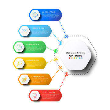 6 steps infographic template with realistic hexagonal elements on white background. company presentation slide template. modern vector info graphic layout design. business process diagram. eps 10