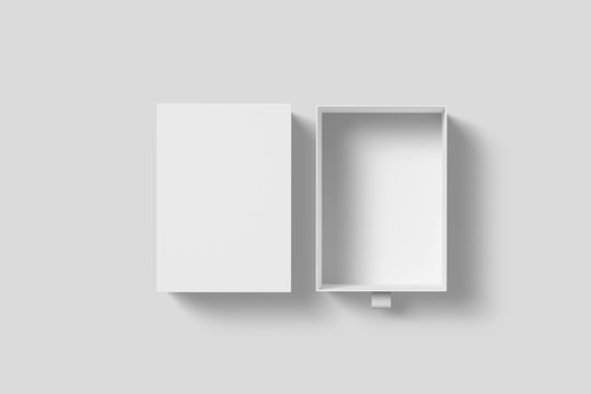 White Cardboard Sliding open Box Mock up on light grey background.Box template with separate lid.3D rendering