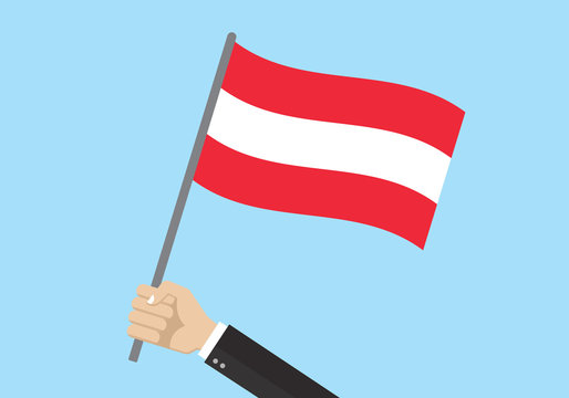 Austria waving flag. Hand holding Austrian flag. National symbol. Vector illustration.