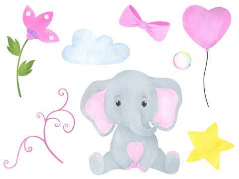 Elephant cute little watercolor illustration set of flowers balloons cloud star bow soap bubble