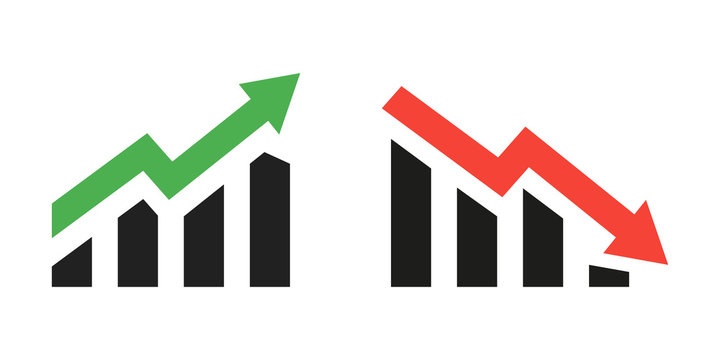Profit growing green and red arrow icons. Isolated vector icon. Progress bar. Growing graph icons graph sign. Chart increase profit. Growth success arrow icon. EPS 10