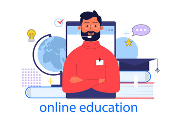 Online education concept. Idea of study remotely using internet.