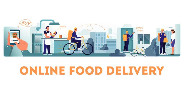Online food delivery concept set. Food order in the internet.