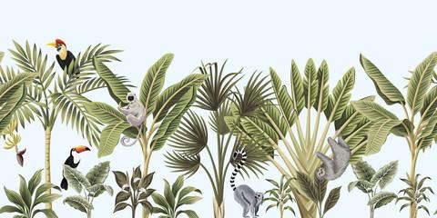 Fototapeta Tropical vintage wild animals, bird, palm tree, banana tree and plant floral seamless border blue background. Exotic jungle wallpaper.